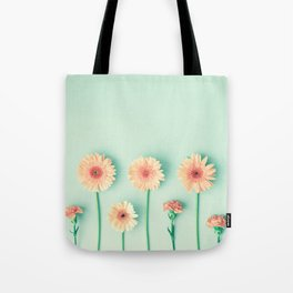 composition of gerbers/daisies over mint Tote Bag