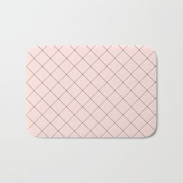 Back to School- Simple Diagonal Grid Pattern- Black & Pink - Mix & Match with Simplicity of Life Bath Mat
