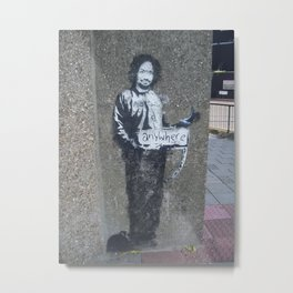 Banksy Hitchhiker to Anywhere (Charles Manson) Metal Print