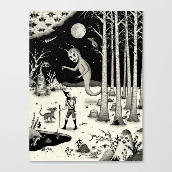 It Followed Him Out of the Woods Canvas Print