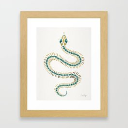 Snake Skeleton – Emerald & Gold Framed Art Print