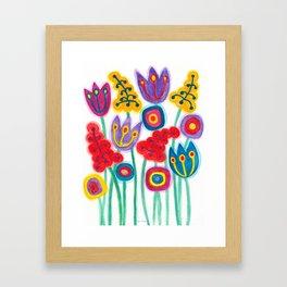 raw flower garden with tulips Framed Art Print