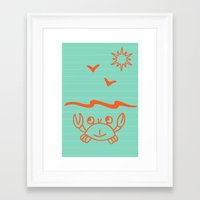 crab Framed Art Prints featuring crab by gzm_guvenc