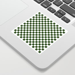 Large Dark Forest Green and White Check Squares Sticker