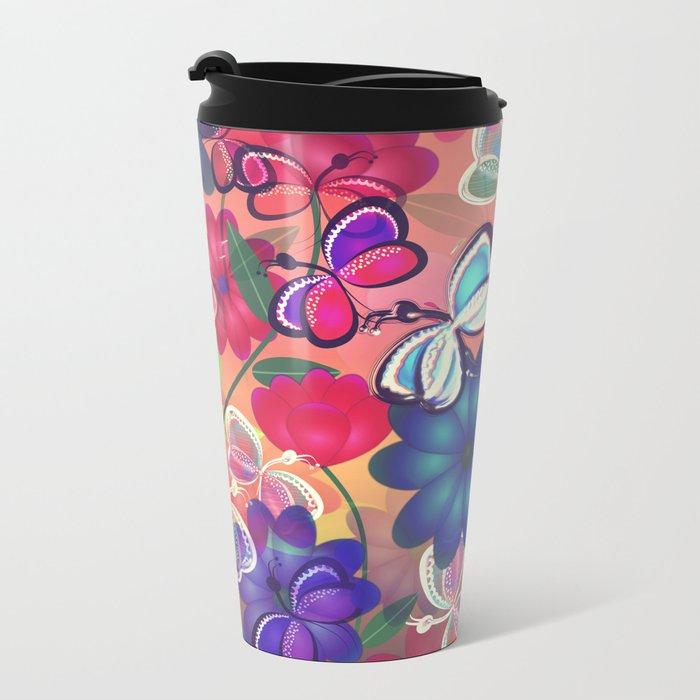 Abstract Butterflies with Flowers (Vintage Orange) Metal Travel Mug