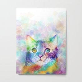 Cat 663 Multicolor cat Metal Print