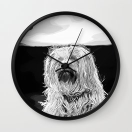 hairy havanese dog vector art black white Wall Clock