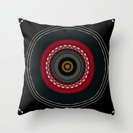 Modern Black White and Red Mandala Throw Pillow