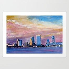 Jacksonville Florida Skyline with Bridge at Sunset Art Print