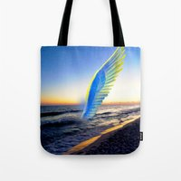angel Tote Bags featuring Angel  by Saundra Myles