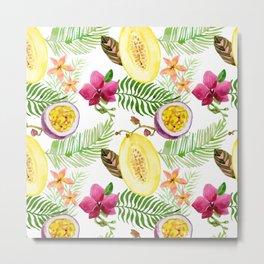 Tropical palm leaves fruit Metal Print