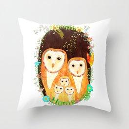 Owl Family Home Throw Pillow