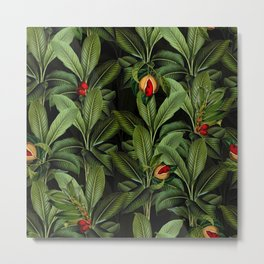 Vintage Exotic Midnight Botanical Leaves And Fruits Garden Metal Print