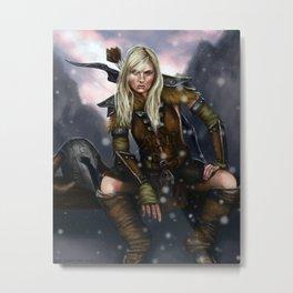 Fantasy Nordic Ranger Woman Metal Print