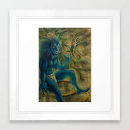 Friendly Blue Lion Framed Art Print