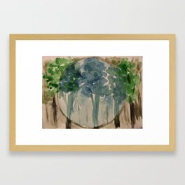Monochromatic Circle Watercolor Trees Framed Art Print