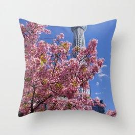 Skytree Sakuras, Tokyo Japan Throw Pillow