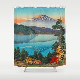 Tsuchiya Koitsu Vintage Japanese Woodblock Print Fall Autumn Mount Fuji Shower Curtain