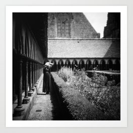 Self Portrait at Mont Saint-Michel - Holga Black and White Art Print