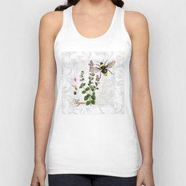 Cottage Style Thyme, Bumble Bee, Hummingbird, Herbal Botanical Illustration Unisex Tank Top