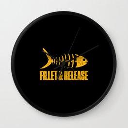 Fillet And Release Fish Bones Fisherman Funny Wall Clock