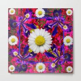 White Shasta Daisies Purple Floral Garden Art Metal Print