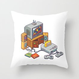 Retro gaming console Throw Pillow