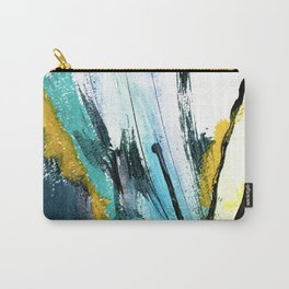 Splash: a vibrant mixed media piece in blues and yellows Carry-All Pouch