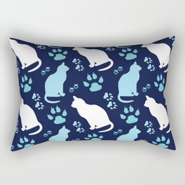 cat and footprints seamless pattern Rectangular Pillow