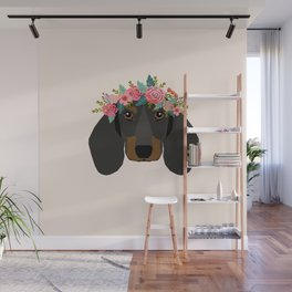 Dachshund floral crown dog breed pet art dachshunds doxie pupper gifts Wall Mural