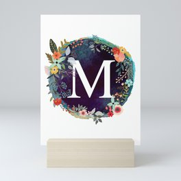Personalized Monogram Initial Letter M Floral Wreath Artwork Mini Art Print