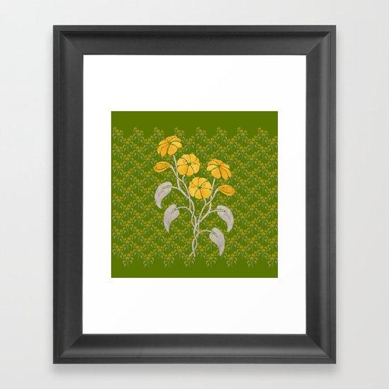 Flowers Green Pattern Framed Art Print