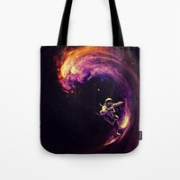 motivational Tote Bags featuring Space Surfing by nicebleed