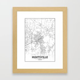 Minimal City Maps - Map Of Huntsville, Alabama, United States Framed Art Print