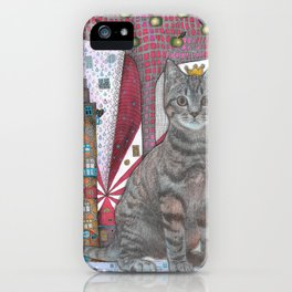 """Cat and apple tree""  Illustrated print iPhone Case"