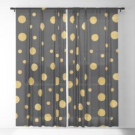 Elegant polka dots - Black Gold Sheer Curtain