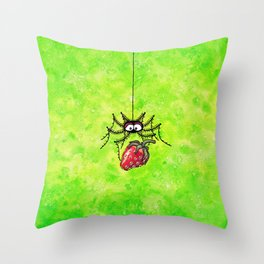 Strawberry-Spider Throw Pillow