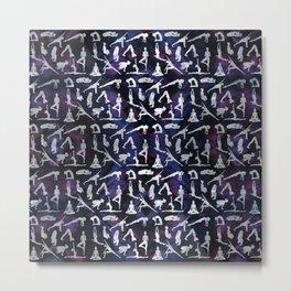 Yoga Asanas / Poses  pattern on Amethyst Metal Print