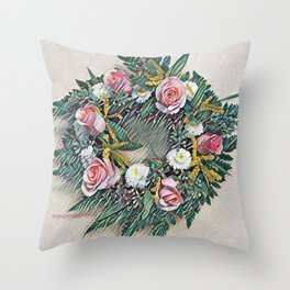 Rose Ring in pink, white, yellow and green Throw Pillow