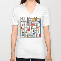 fibonacci V-neck T-shirts featuring Mondrian meets Fibonacci by Studio Fibonacci