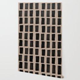 Brush Strokes Vertical Lines Black on Nude Wallpaper