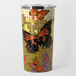 Puce color Abstracted Black & Orange Monarch Butterflies Travel Mug