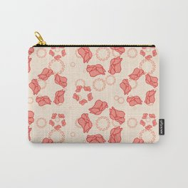 Poppy Pattern Collection - Cream Background & Pink Flowers Carry-All Pouch