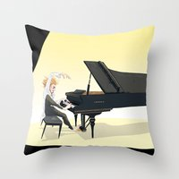 tim shumate Throw Pillows featuring Tim Minchin by Lesley Vamos