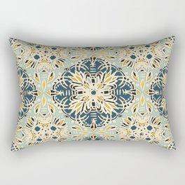 Protea Pattern in Deep Teal, Cream, Sage Green & Yellow Ochre  Rectangular Pillow