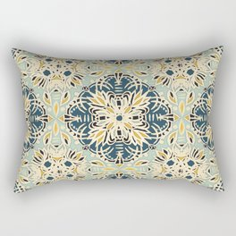 Protea Pattern in Deep Teal, Cream, Sage Green & Yellow Ochre  Rectangular Pillow