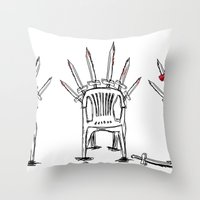 thrones Throw Pillows featuring The Plastic Thrones by Helena McGill