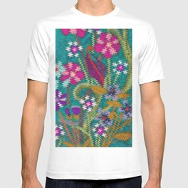 Starry Floral Felted Wool, Turquoise and Pink T-shirt