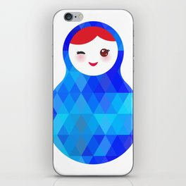 wink Russian doll matryoshka with bright rhombus on white background, blue colors iPhone Skin