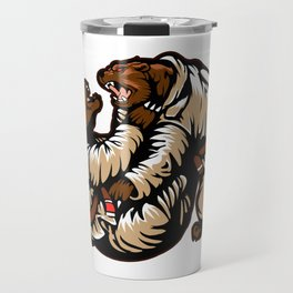 Two bears fighting. Karate Bear Travel Mug